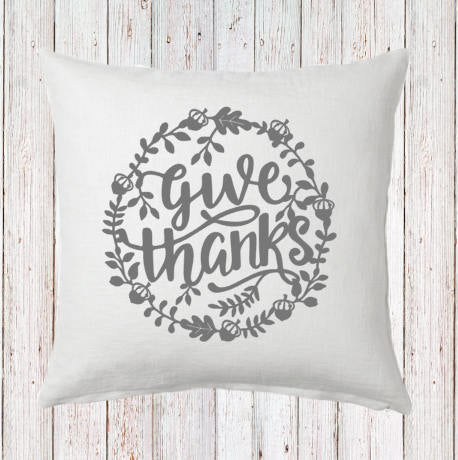 Give Thanks Wreath Fall Pillow