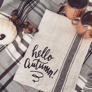 hello autumn kitchen towel
