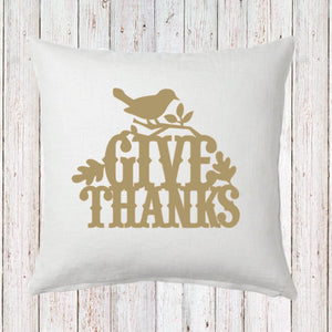 Give Thanks with Bird Fall Pillow