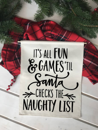 All Fun and Games Naughty List/ Christmas wall decor/ christmas decoration/ wall hanging/ farmhouse christmas/ christmas sign/ red black