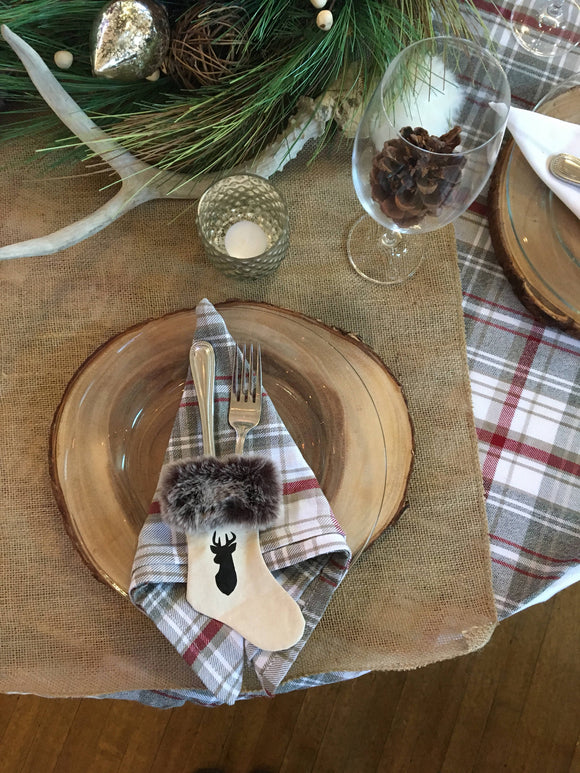 Faux fur and deer Utensil Holder/ Miniature Christmas Stocking/ holiday table flatware holder/ silverware holder/hostess gift