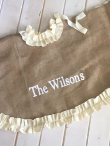 Personalized Burlap Tree Skirt with Cream, Red Ruffle or striped Trim / Lined christmas tree skirt / Ruffle christmas skirt /