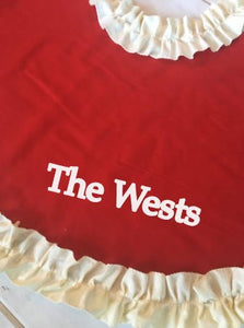 Personalized Red Tree Skirt with Ruffles / Cream, Red or striped ruffle Trim / Custom christmas tree skirt / Ruffle christmas skirt