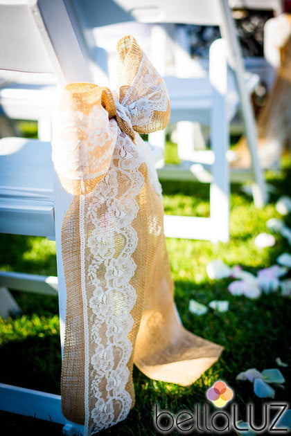 Burlap and Lace Wedding Ceremony Bow Qty 10