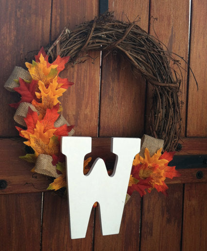 Rustic Fall Grapevine Wreath with Burlap and Leaves