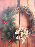 Rustic Christmas Wreath with Burlap Poinsettias and Greenery