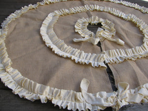 Burlap Tree Skirt with Double Cream or Red Ruffles