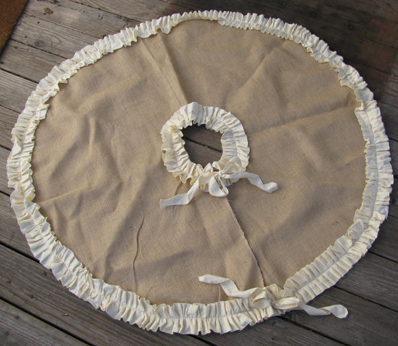 Burlap Tree Skirt with Single Cream or Red Ruffle Trim