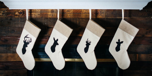 Rustic Chic Deer Family Stockings - Set of 4