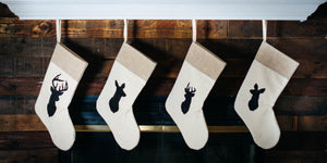 Rustic Chic Deer silhouette Christmas Stocking