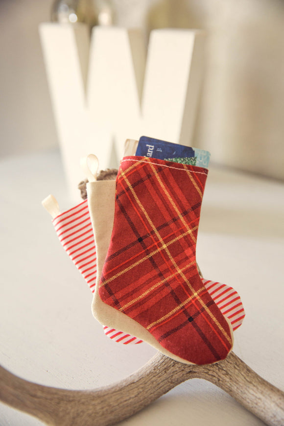 Gift Card Holder or Gift Bag Miniature Christmas Stocking