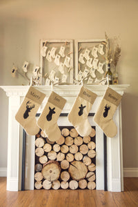 Personalized Rustic Chic Deer Family Stockings - Set of 4