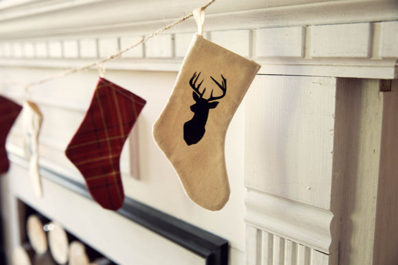 Christmas Stocking Garland Mini stockings deer silhouette red plaid holiday decor
