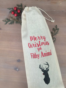 Merry Christmas Ya Filthy Animal Wine Bag