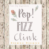 Bohemian Feather Mimosa Bar printable 8 x 10 bridal shower drink station bar sign bohemian bridal shower champagne print