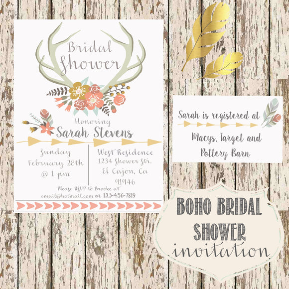 Bohemian Bridal Shower Invitation with insert card Digital Download