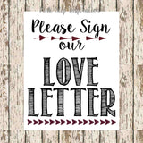 guest book printable Please Sign our love letter black and burgundy 8 x 10 bohemian guestbook print boho guestbook love letter signage