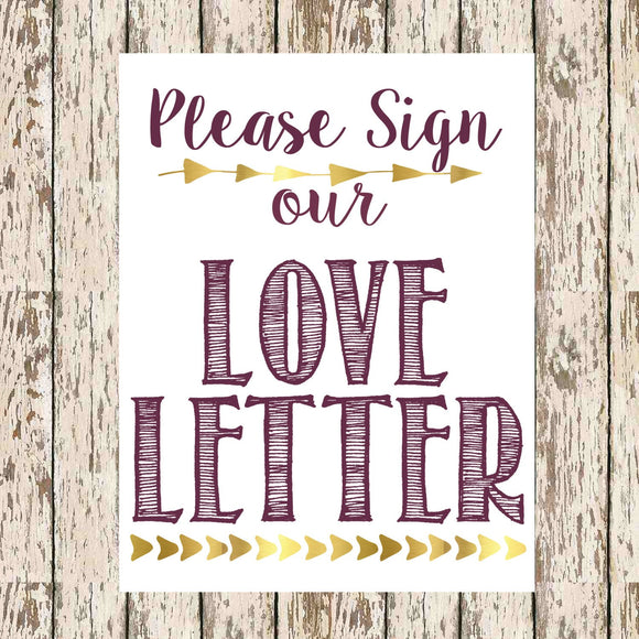 guest book printable Please Sign our love letter Eggplant and Gold 8 x 10 bohemian guestbook print love letter signage guestbook for shower