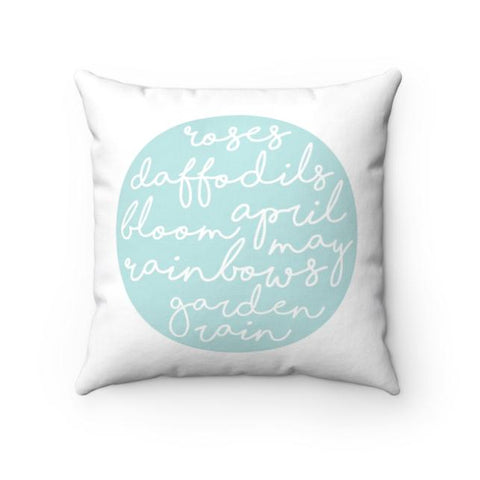 Spring Themed Pillow Cover | Blue on White