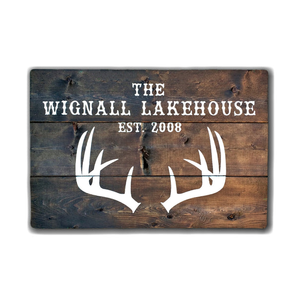 Cottage/Lakehouse Sign with Last Name and Established Date | Wood Sign with Antlers - Designed With Love