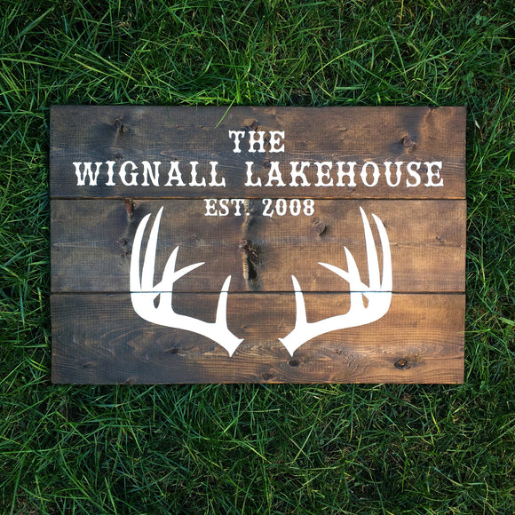 Cottage/Lakehouse Sign with Last Name and Established Date | Wood Sign with Antlers