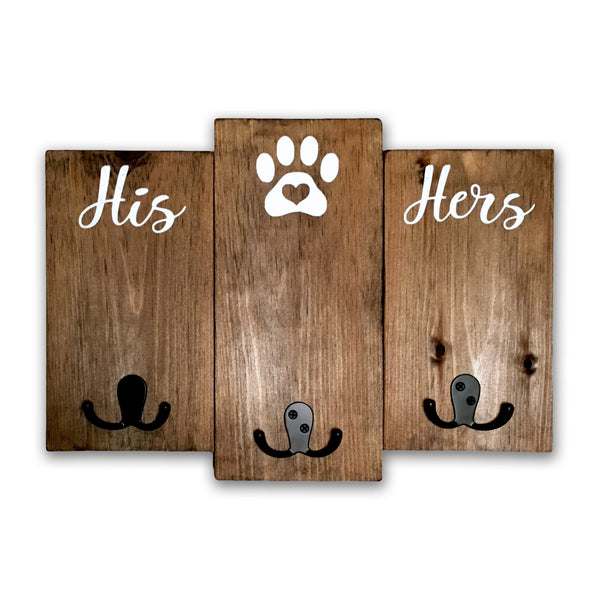 His, Hers, Dog Hook Sign | Wood Leash Holder | Keys and Dog Leash Holder | Leash Rack - Designed With Love