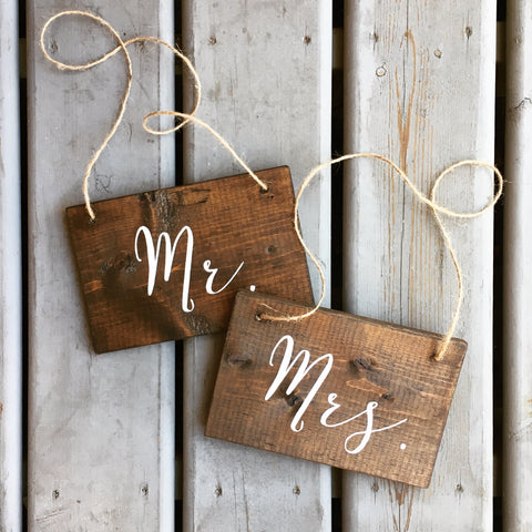Mr and Mrs Chair Signs | Wood Chair Signs | Wood Wedding Sign | White on Wood | Calligraphy - Designed With Love