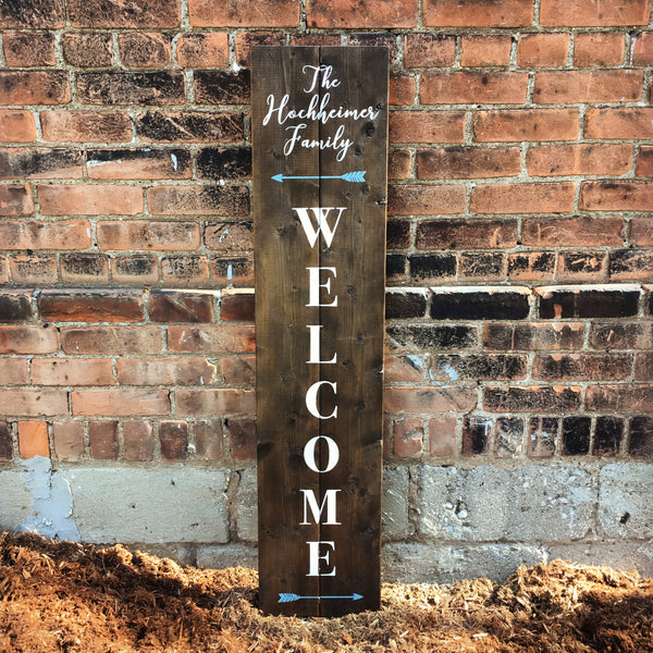 Front Porch Welcome Wood Sign with Last Name and Arrows | Exterior Sign - Designed With Love