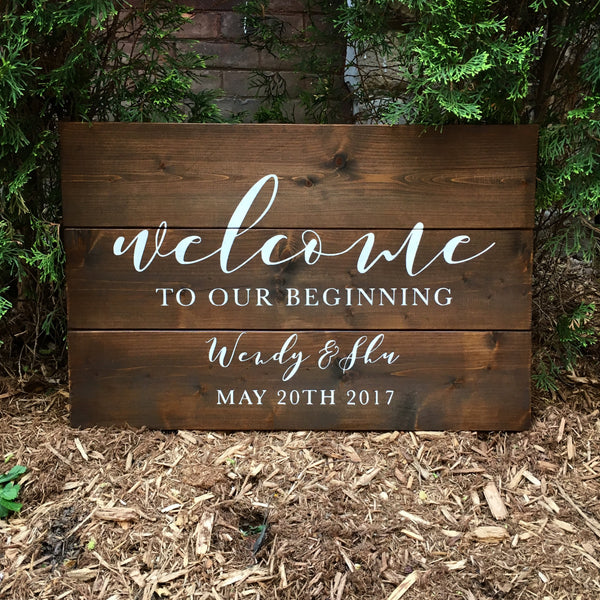 Welcome To Our Beginning Wood Sign with Names and Wedding Date | Welcome Wood Wedding Sign  Welcome Sign - Designed With Love