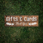 Gifts + Cards Wood Sign | Gift Table Wood Wedding Sign  Chair Signs - Designed With Love