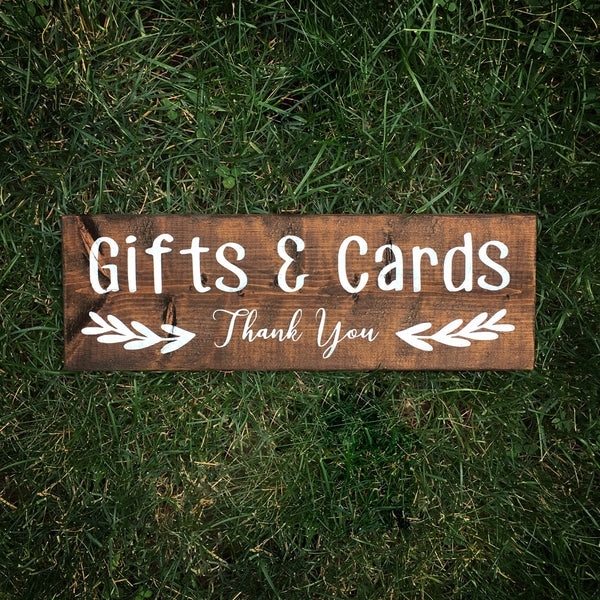 Gifts + Cards Wood Sign | Gift Table Wood Wedding Sign - Designed With Love
