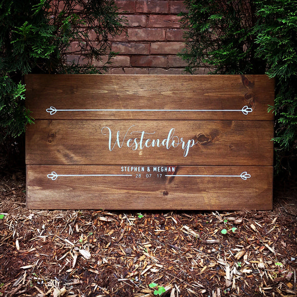 First Names, Last Name and Wedding Date Guest Book | Wood Wedding Sign