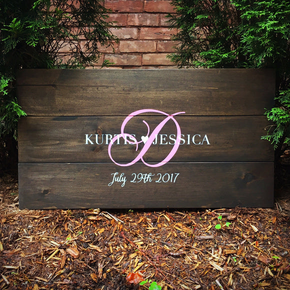 Monogram Guest Book Alternative with Names and Initial | Wood Wedding Sign