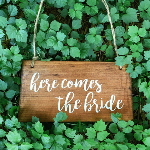 Here Comes the Bride Wood Sign | Wood Wedding Sign - Designed With Love