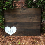 Heart Guest Book with Names or Initials | Wood Wedding Sign | Mr and Mrs Guest Book - Designed With Love