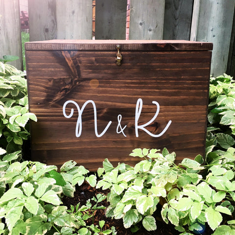 Wood Card Box with Custom Text | Wedding Decor - Designed With Love