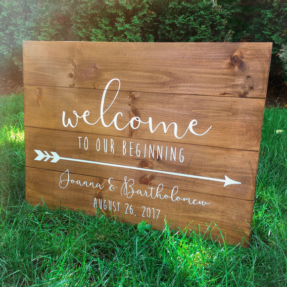 Welcome To Our Beginning Wood Wedding Sign | Directional Arrow