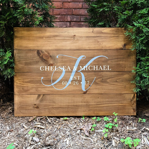 Monogram Guest Book Alternative with Names and Initial | Wood Wedding Sign - Designed With Love
