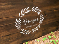 Rustic Wreath with Custom Text Wood Guest Book | Wood Wedding Sign - Designed With Love