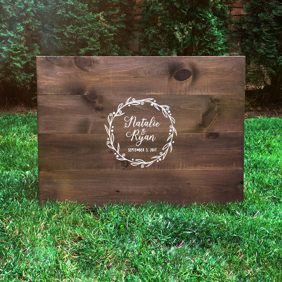 Rustic Wreath with Custom Text Wood Guest Book | Wood Wedding Sign