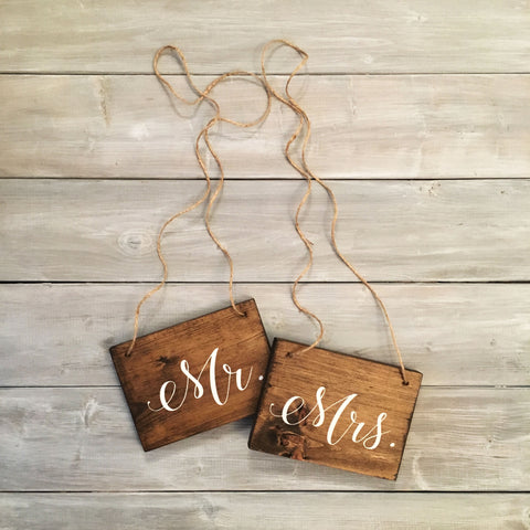 Mr and Mrs Chair Signs | Wood Chair Signs | Wood Wedding Sign | White on Wood | Cursive - Designed With Love