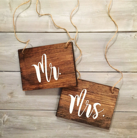 Mr and Mrs Chair Signs | Wood Chair Signs | Wood Wedding Sign | White on Wood | Calligraphy