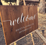 Welcome To Our Beginning Wood Sign with Names and Wedding Date | Welcome Wood Wedding Sign - Designed With Love