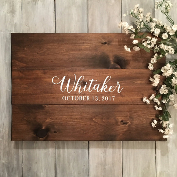 Simple Name and Wedding Date Guest Book | Custom Text Wood Guest Book | Wood Wedding Sign