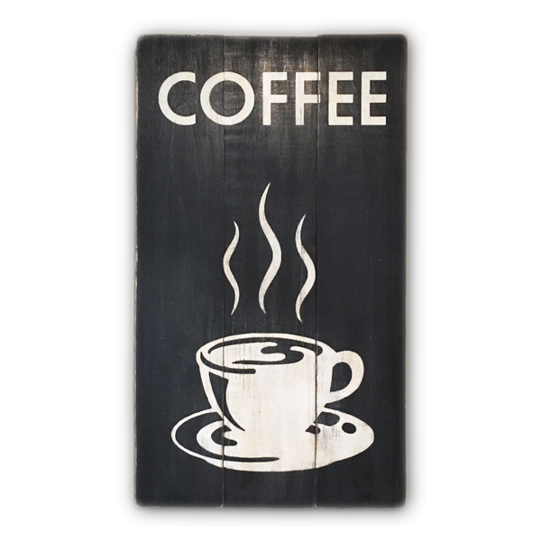 Distressed Wood Coffee Sign | Painted Wood Sign - Designed With Love