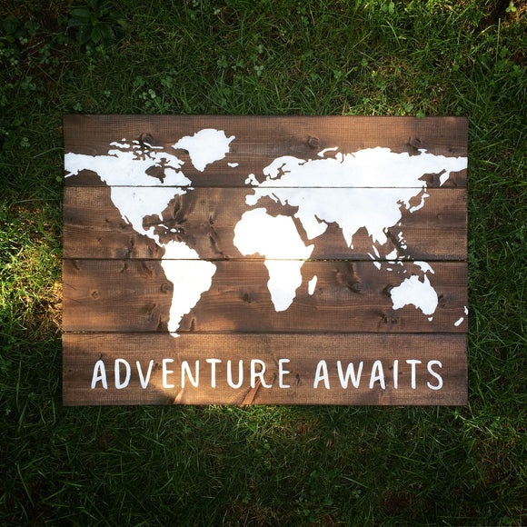 Adventure Awaits World Map Wood Sign | Map Sign | Travel
