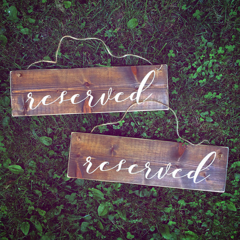 Wood Reserved Chair Signs | Ceremony Signs | Reception Wood Wedding Sign - Designed With Love