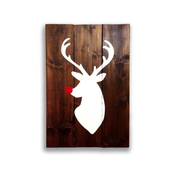 Rudolph The Red Nosed Reindeer Wood Sign | Christmas Sign | Rustic - Designed With Love