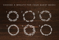 Rustic Wreath with Custom Text Wood Guest Book | Wood Wedding Sign  Wedding Guest Book - Designed With Love