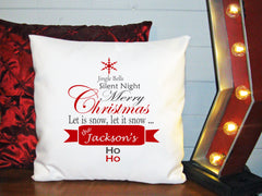 Personalized Custom Cushion Cover Throw Pillow Christmas Songs ANy Family Name Great Gift Idea
